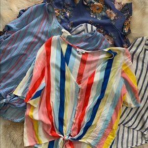 Crop tops bundle sale that all tie at waist SZ L